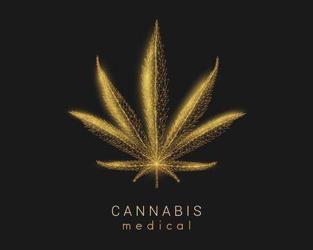 Medical cannabis. Marijuana leaf. Low poly style design.