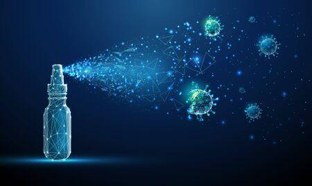 Hand sanitizer breaking down molecule of Coronavirus.