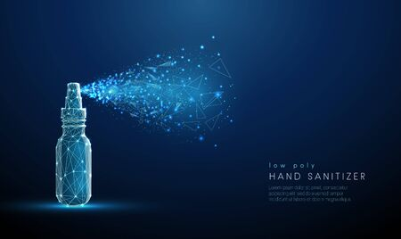 Low poly blue hand sanitizer spraying around