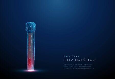 Blood test tube. Positive result coronavirus test Vettoriali