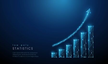 Abstract blue increasing chart. Low poly style design