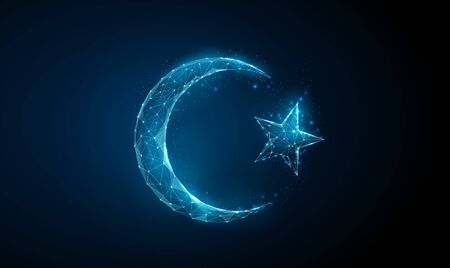Abstract islamic symbol crescent and star. Ramadan Kareem background. Low poly style design. Wireframe light connection structure. Modern 3d graphic concept. Isolated vector illustration. Vettoriali