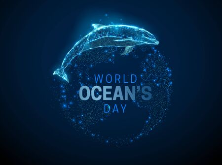 World ocean's day template. Jumping dolphin and Earth planet. Low poly style design. Abstract geometric background. Wireframe light connection structure. Modern 3d graphic concept. Vector illustration