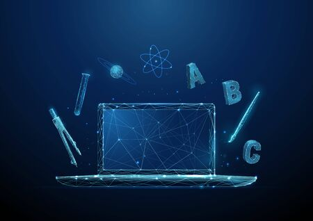 Open laptop with symbols of school subjects - alphabet, chemistry tube, drawing brush, compasses tool. Online learning and distance education concept Low poly style Modern 3d wireframe  graphic Vector Vettoriali
