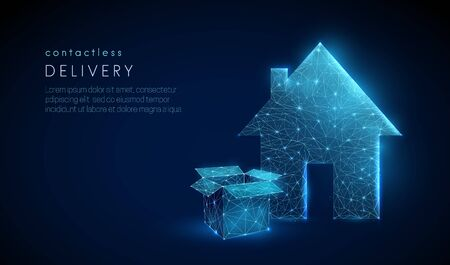 Low poly open box near country house entrance. Contactless delivery concept. Epidemic measures during quarantine. Food delivery. 3d graphic Abstract geometric background. Vector illustration Vettoriali