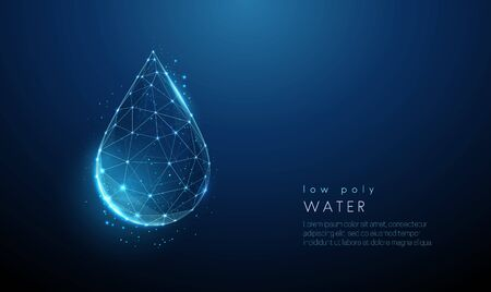 Falling drop of water. Low poly style design. Abstract geometric background. Wireframe light connection structure. Modern 3d graphic concept. Isolated vector illustration.