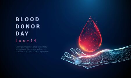 Abstract giving hand with drop of blood. Low poly style design. Blue blood donor day concept. Modern 3d graphic geometric background. Wireframe light connection structure. Isolated vector illustration