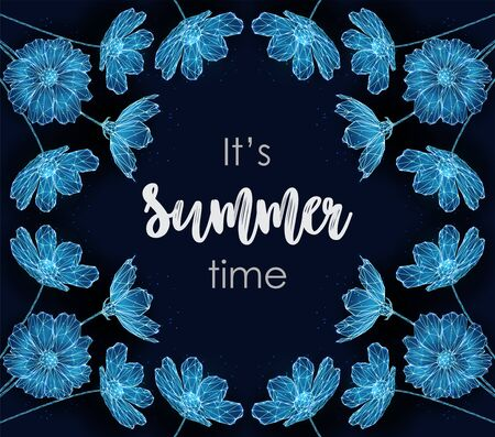 Abstract summer time card with blue flowers. Illustration