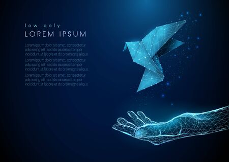 Abstract open hand with flying paper bird. Low poly style design. Blue geometric background. Wireframe light connection structure. Modern 3d graphic concept. Isolated vector illustration.