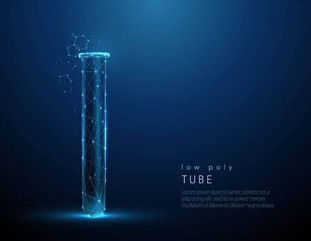 Low poly style blue medical tube icon