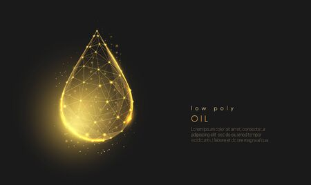 Abstract falling golden oil drop. Modern 3d graphic concept. Geometric background. Wireframe light connection structure. Isolated vector illustration. Low poly style design. Illustration