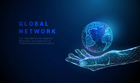 Abstract hand holding planet Earth. Low poly style design. Global network concept. Modern blue 3d graphic geometric background. Wireframe light connection structure. Isolated vector illustration.