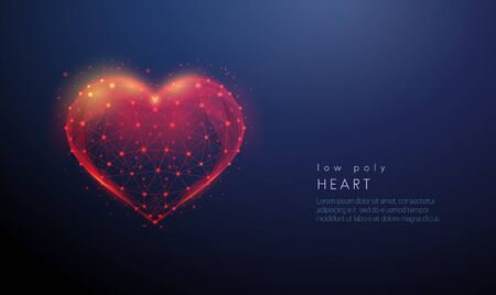 Abstract heart shape. Low poly style design Illustration