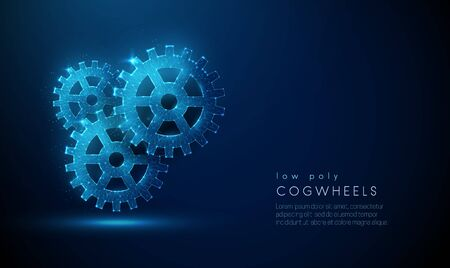 Abstarct lowpoly composition of cogwheels . Low poly style design. Abstract geometric background. Wireframe light connection structure. Modern 3d graphic concept. Isolated vector illustration.