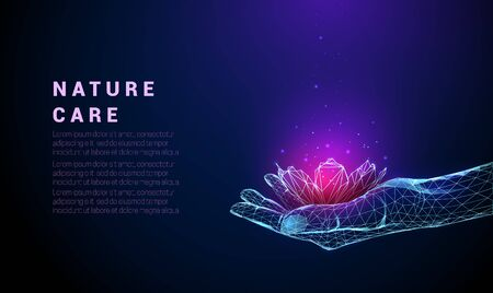 Abstract giving hand with flower. Low poly style design. Abstract geometric background. Wireframe light connection structure. Modern 3d graphic concept. Isolated vector illustration.