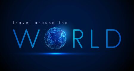 Text Travel around the world with Earth planet.  Low poly style design. Abstract geometric background Wireframe light connection sphere structure Modern 3d graphic concept Isolated vector illustration