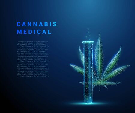 Medical cannabis. Marihuana leaf and tube. Biotechnology concept. Low poly style design. Abstract blue geometric background. Wireframe light connection structure. Isolated vector illustration.