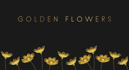 Banner with golden growing flowers. Low poly style design. Abstract geometric background. Wireframe light connection structure. Modern 3d graphic concept. Isolated vector illustration.