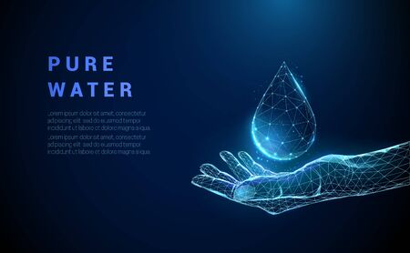 Abstract hand holding drop of water. Low poly style design. Blue geometric background. Wireframe light connection structure. Modern 3d graphic concept. Isolated vector illustration.