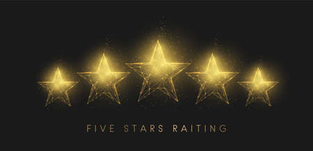 5 stars raiting. Abstract golden stars. Low poly style design