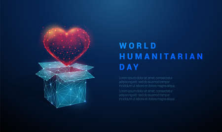 Low poly Abstract open box and heart Vettoriali