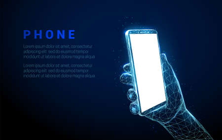 Abstract hand holding mobile phone with white empty screen