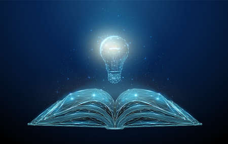 Abstract low poly open book with light bulb Illustration