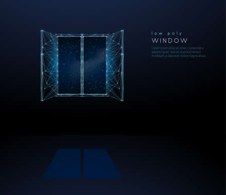 Abstract open window to universe. Low poly style design