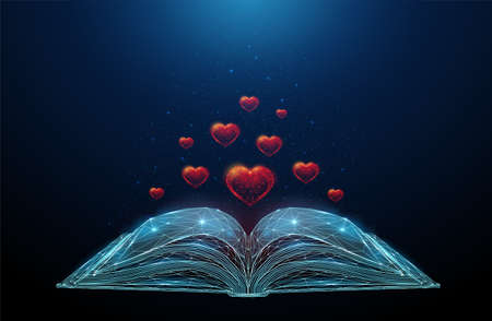 Low poly abstract open book with flying hearts. Illustration