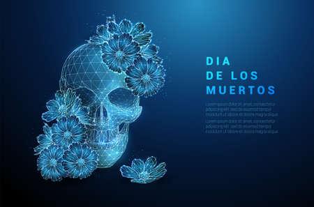 Skull with flowers. Dia de los muertos concept.