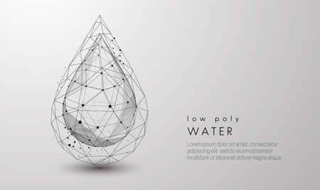 Falling drop of water. Low poly style design Illustration