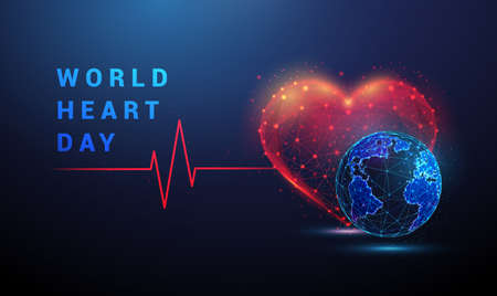 Heart shape with red cardio puls line and earth.