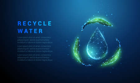 Falling drop of water with recycle symbol from green leafs Illustration