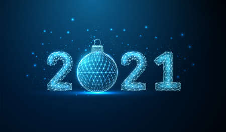 Abstract Happy 2021 New Year greeting card with Christmas ball