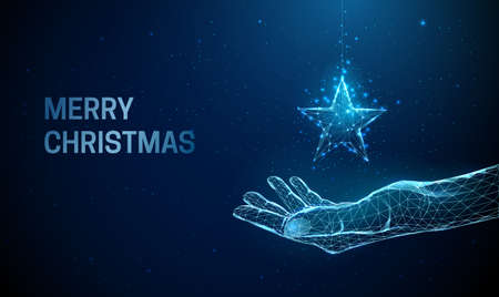 Abstract giving hand with Christmas toy star Illustration