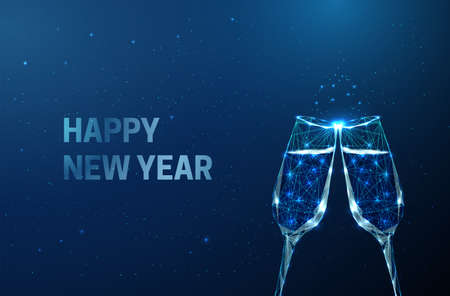 Abstract Happy New Year greeting card with clink glasses. Low poly style design.