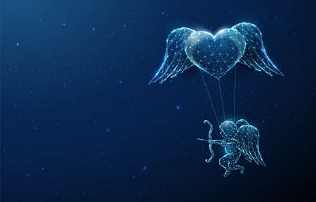 Abstract blue angel cupid flying under heart  イラスト・ベクター素材