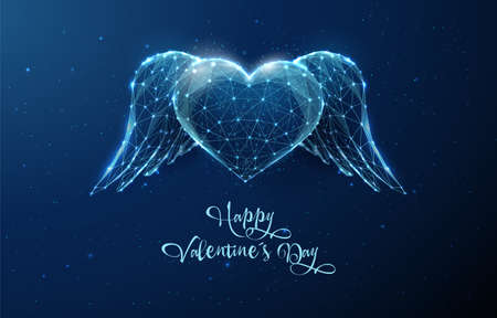 AbAbstract blue heart with wings. Happy Valentines day card