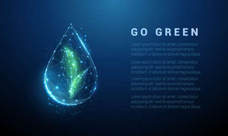 Falling drop of water with green leafs inside
