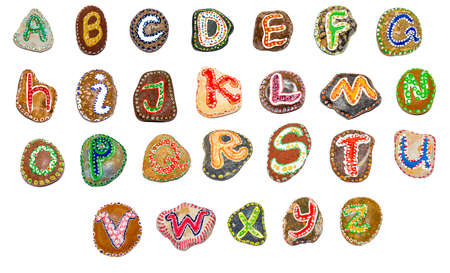 Alphabet painted on stones - hand painted letters