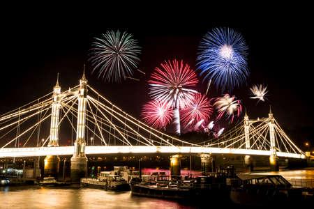 fawkes: London, UK - 07 November 2015 - Guy Fawkes Fireworks over Albert Bridge