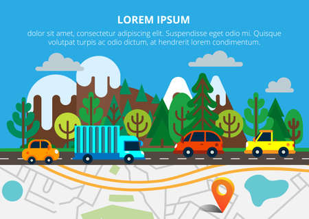 city view: Colorful background with landscape, road and city map. Top view