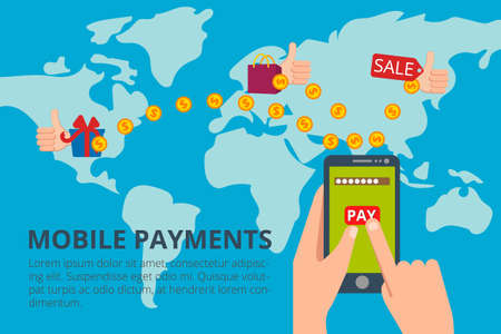 Hands tapping smart phone with banking payment app. Modern flat Illustration