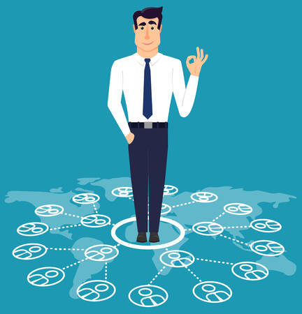 communicable: Communicable young business man standing on world map.