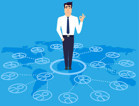 communicable: Communicable young business man standing on world map. The impor