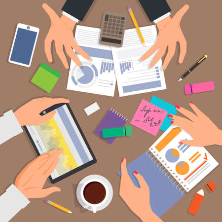pencils  clutter: Business desk top view. Work process with a lot of diagrams and