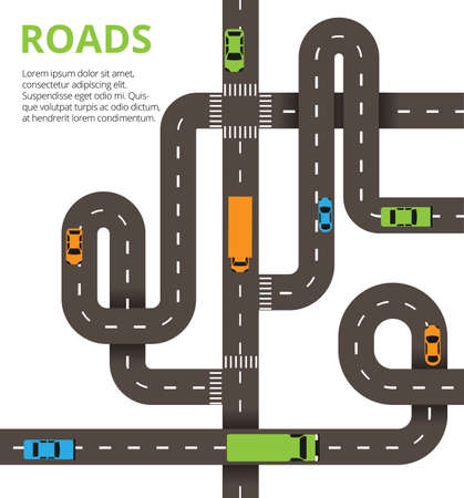 Roads junctions concept. Vector illustration with winding roads