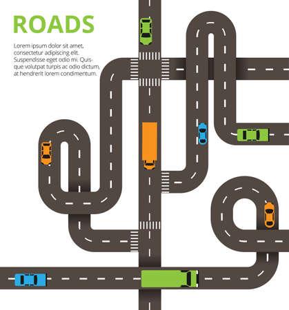 Straßen Kreuzungen Konzept. Vektor-Illustration mit kurvenreichen Straßen