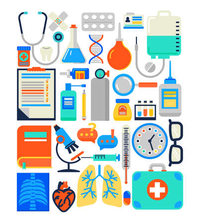 Medical, health care concept in modern flat design. Vector illus