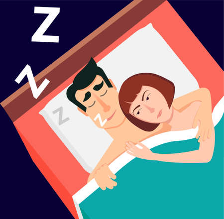 woman lying in bed: Vector illustration in modern flat style. Snoring man, couple sl Illustration